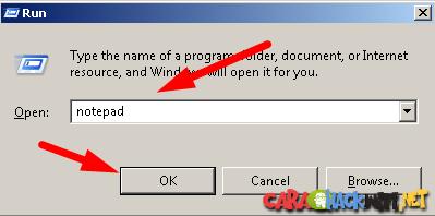 membuka notepad