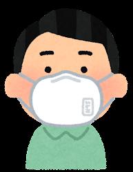 N95マスクをつけた人のイラスト(男性)