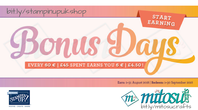 Stampin' Up! Bonus Days Promotion. Order craft supplies from Mitosu Crafts UK Online Shop