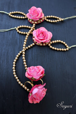 Coral Pink bridal flower jewelry