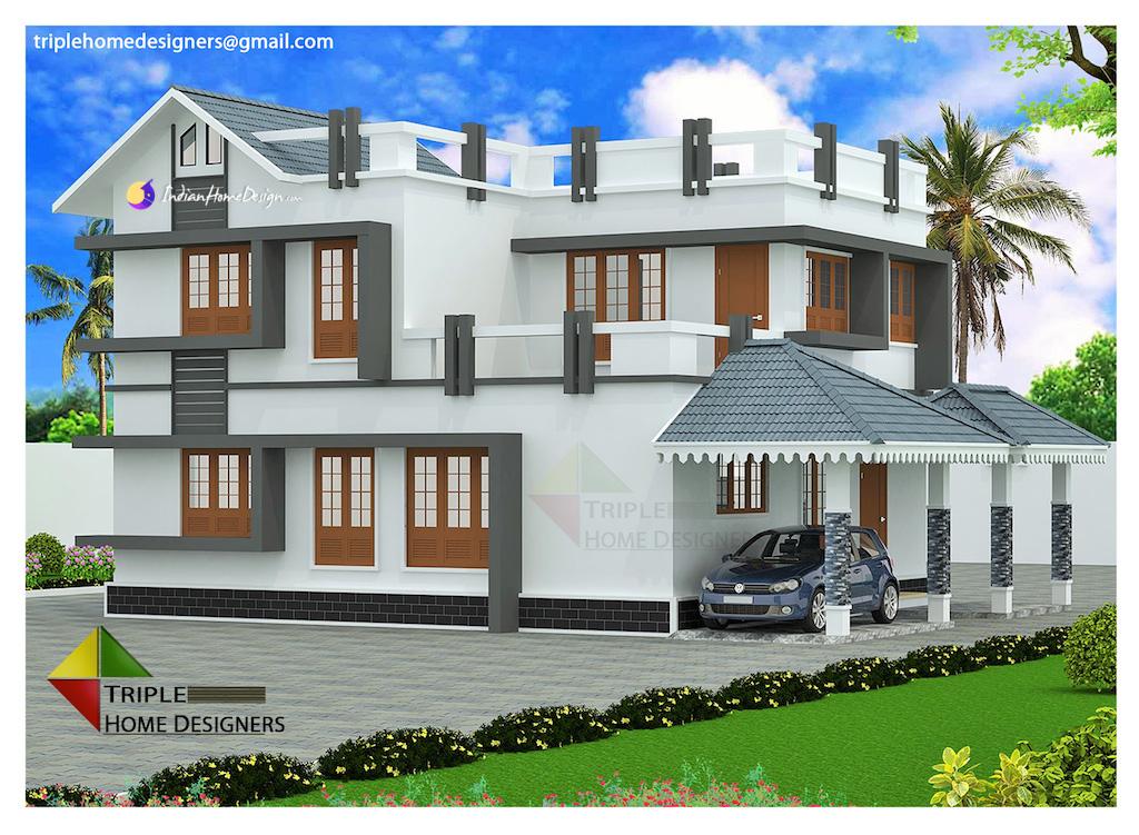 2100 sqft 3 Bhk Beautiful Kerala Home Design by Triple Home Designers
