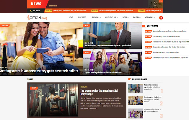 OfficialMag Responsive News Magazine Blogger Template Theme