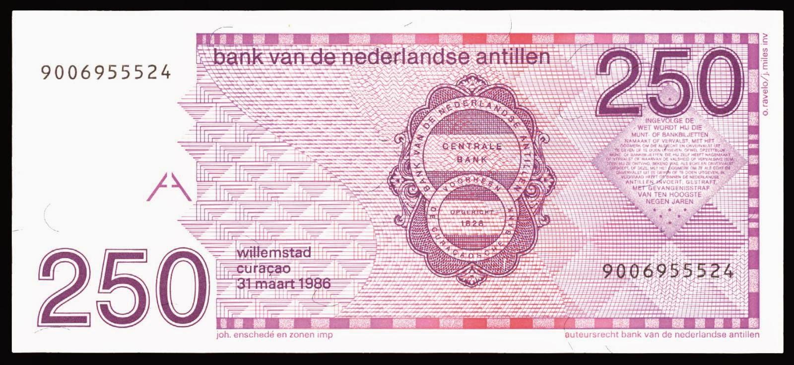 Netherlands Antilles money currency 250 Guilder note