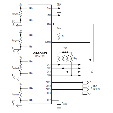 MAX34406 Typical Application Circuit and Datasheet