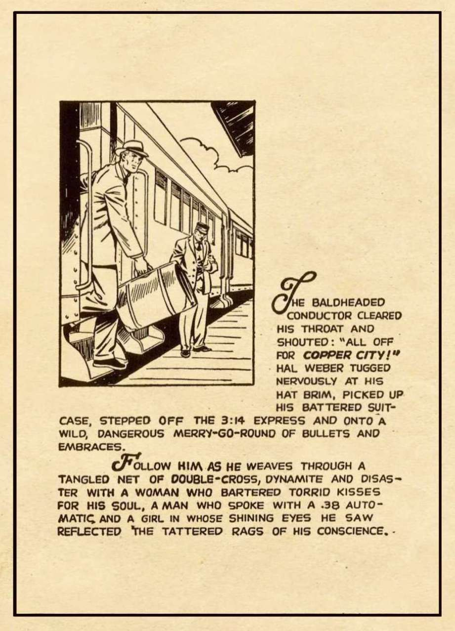 Page 1 of the story with panel of Hal stepping off a train above a block of narration