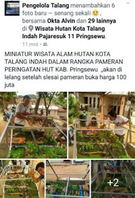 Miniatur Wisata Alam Hutan Kota Talang Indah di Lelang seharga 100 Juta