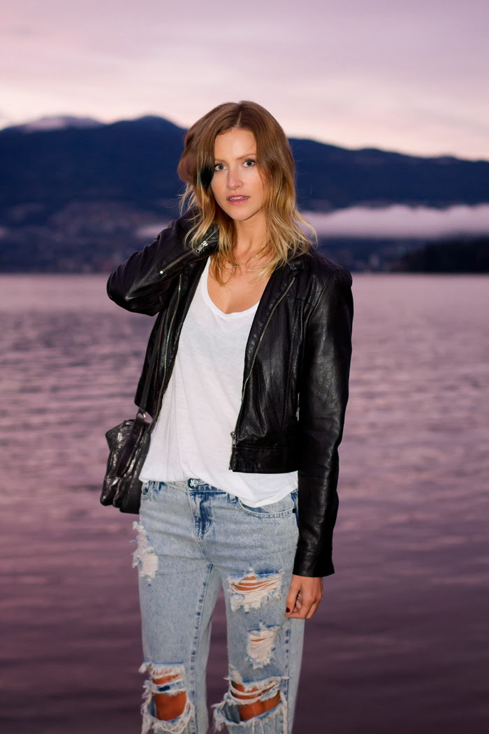 Vancouver Fashion Blogger, Alison Hutchinson, wearing a Forever 21 leather jacket, One Teaspoon Spaceboy Baggies, ATM sleeveless tee, Zara black suede pumps, and a silver Botkier Valentina bag.