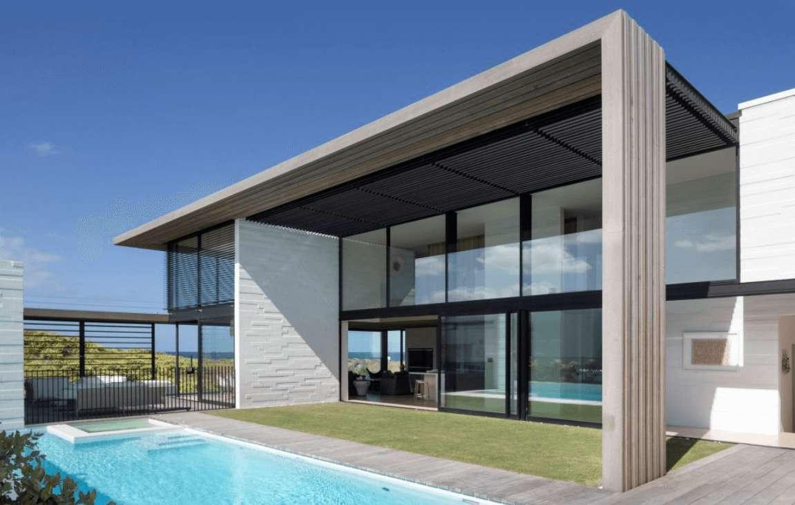 Contoh Model Desain Rumah Kontemporer 1 Lantai Modern dengan Dinding Kaca