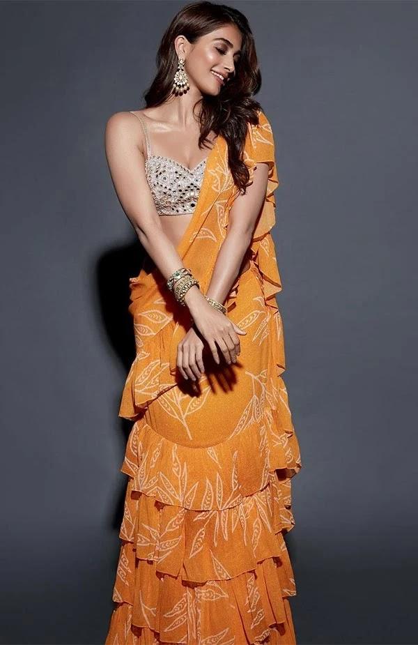 Pooja Hegde in ruffle saree looks stunning hot - see latest viral photos.