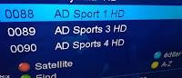 Fréquence  AD Sport 3 et 4 HD sur nilesat et AD Sport 1 HD sur Badr