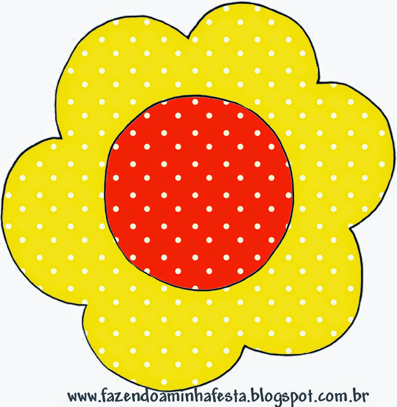 arjeta con forma de Flor de Rojo, Amarillo y Lunares Blancos.