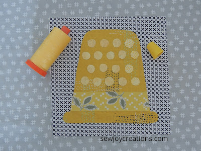 block Three Sew Much Fun Tour yellow applique thimble Slice of Pi quilts pattern