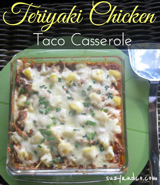 simple recipe for teriyaki chicken taco casserole | suzyandco.com