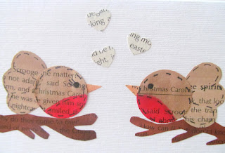 upcycled christmas cards - robins
