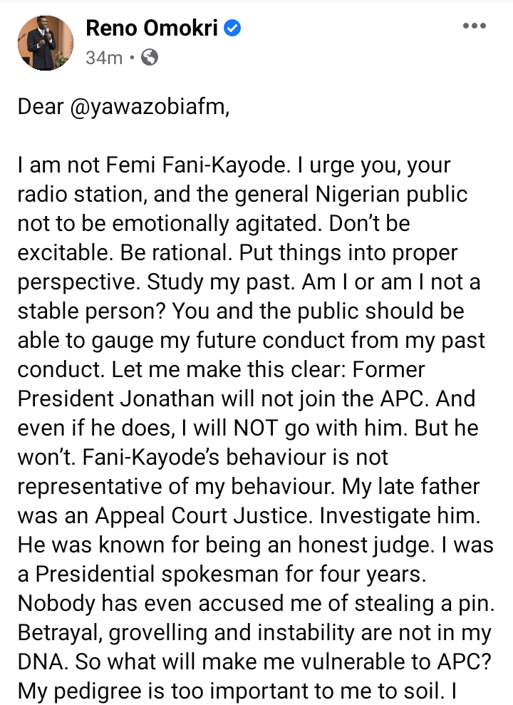 Goodluck Jonathan will not join the APC, even if he does, I will not go with him - Reno Omokri