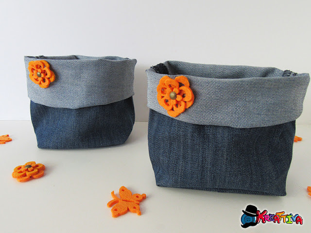 Cestino porta tutto in jeans per un riciclo creativo