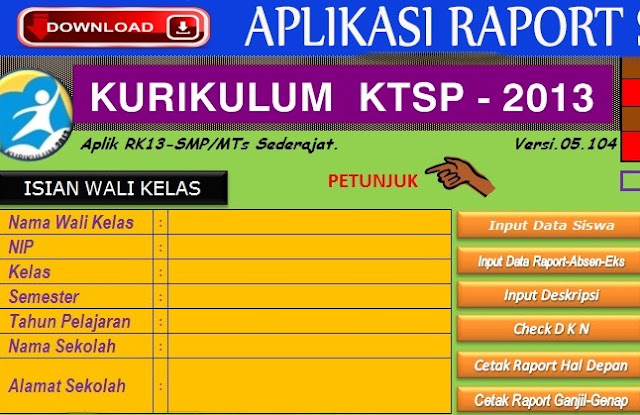 Download Aplikasi Raport Kurikulum 2013 Revisi Terbaru 2018