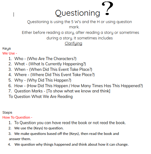 Jack @ Panmure Bridge School: Reading: Questioning And Predicting