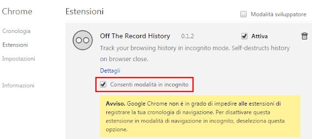 Consentire modalità in incognito estensione Chrome