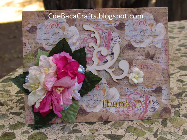 Vintage Thank You Card Handmade by CdeBaca Crafts Blog.