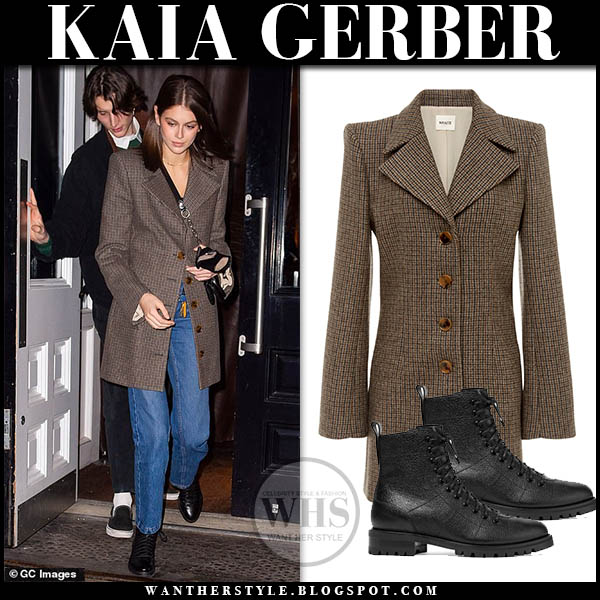 Kaia Gerber in brown tweed plaid Khaite blazer during New York fashion week february 2019 outfits