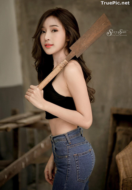 Image Thailand Model - Thanyarat Charoenpornkittada - Black Crop Top and Jean - TruePic.net - Picture-6
