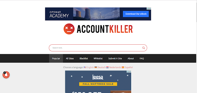 homepage of account killer website