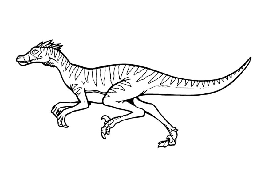 View Blue Velociraptor Coloring Page