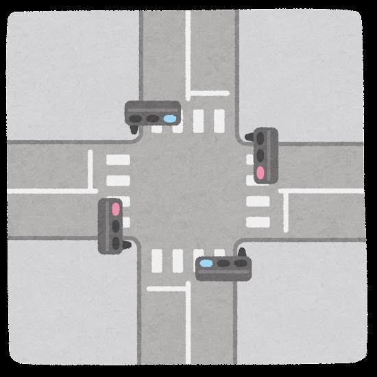 上から見た交差点のイラスト(信号あり)
