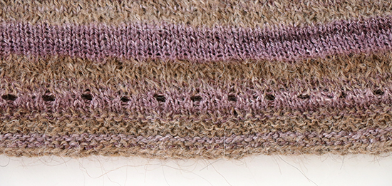 Eyelet Knitting Detail on a Shirt in Handspun Yarn