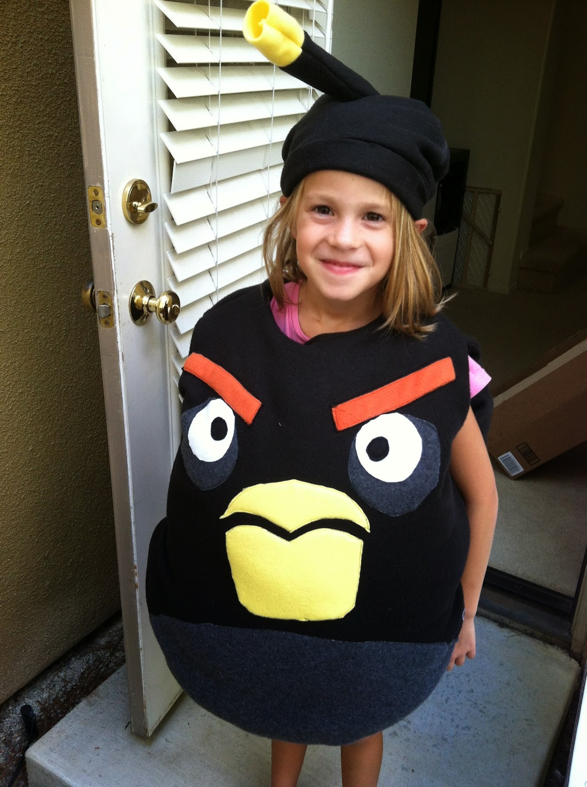 We put a toilet paper roll inside the bomb fuse to get it to stand up. She loves it and wonu0027t wear it over her ears or let me make a better one.  sc 1 st  Chadwicksu0027 Picture Place & Chadwicksu0027 Picture Place: Homemade Black Angry Bird (Bomb) Halloween ...