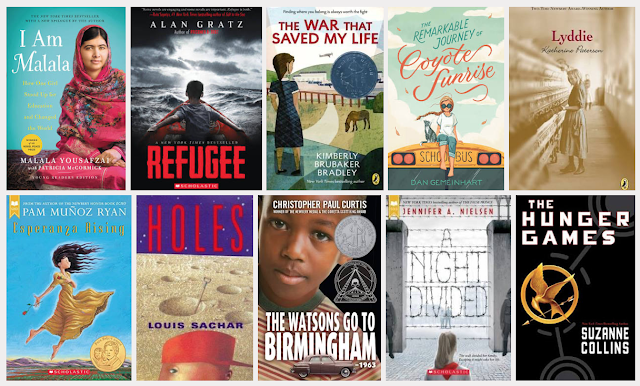 Image of 10 novels: I Am Malala, Esperanza Rising, The Hunger Games, The Remarkable Journey of Coyote Sunrise, A Night Divided, Refugee, Holes, The Watsons Go to Birmingham 1963, Lyddie, The War The Saved My Life