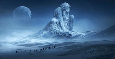 Pemandangan Fantasi Pegunungan Manusia Pengembara