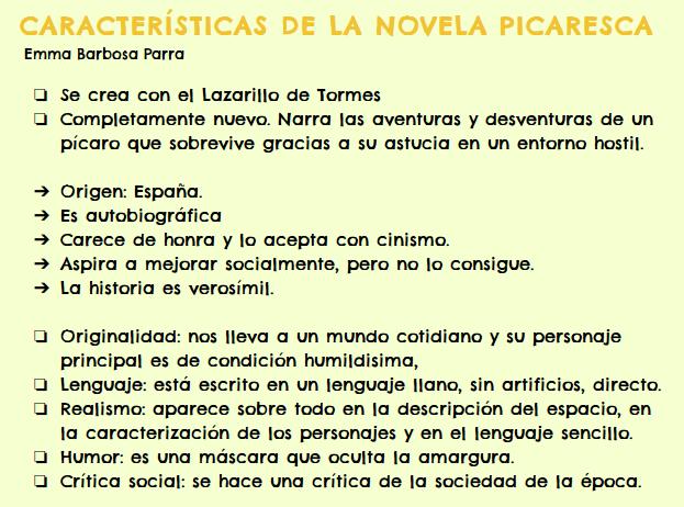 Blog De Emma Caracteristicas De La Novela Picaresca