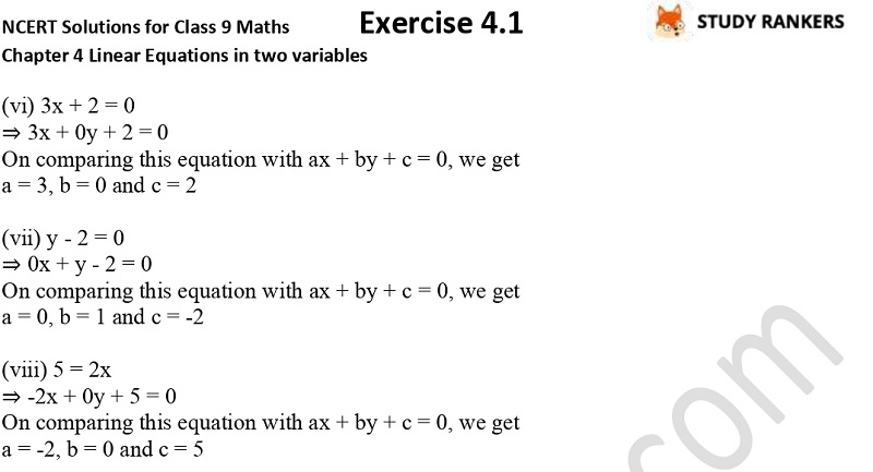 NCERT Solutions for Class 9 Maths Chapter 4 Linear Equations in Two Variables Exercise 4.1 Part 2