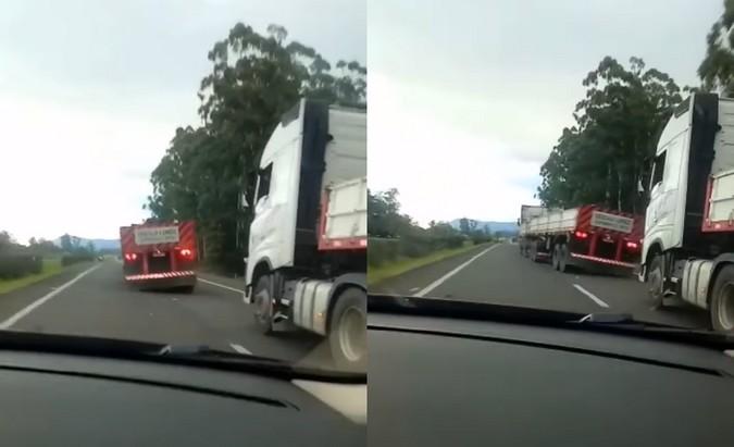 """VÍDEO: Caminhoneiro de 21 anos realiza """"quebrada de asa"""" em frente a viatura da PRF"""