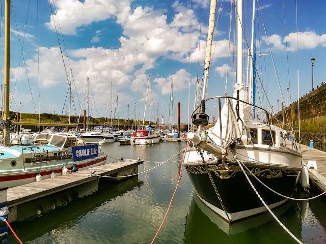 Photo of blue sky and white clouds at Maryport Marina yesterday (Thursday)