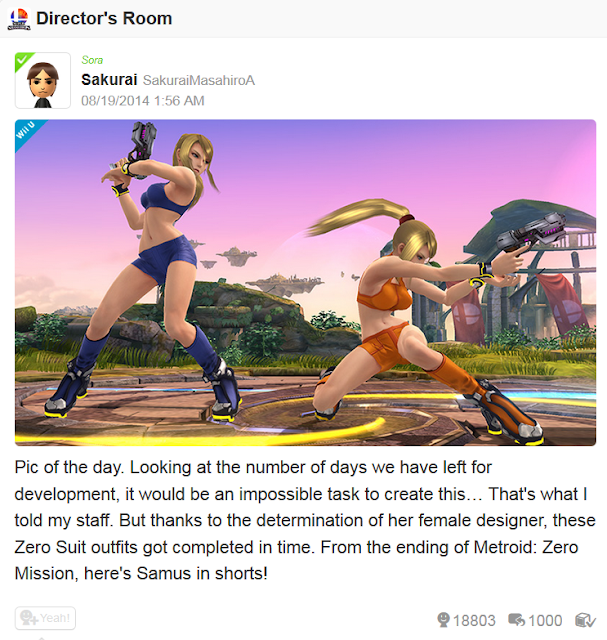 Sakurai Miiverse post of the day Zero Suit Samus shorts costume female designer