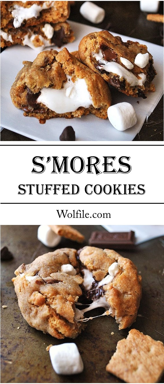S'MORES STUFFED COOKIES #SMores #Cookies