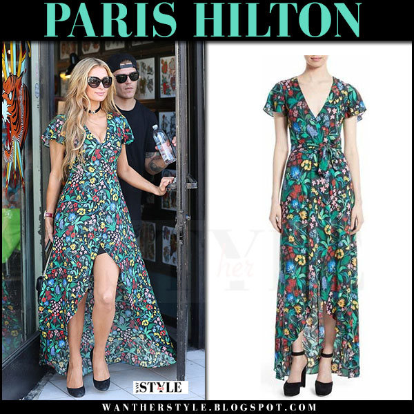 Paris Hilton in green floral print maxi dress alice olivia adrianna what she wore march 2017