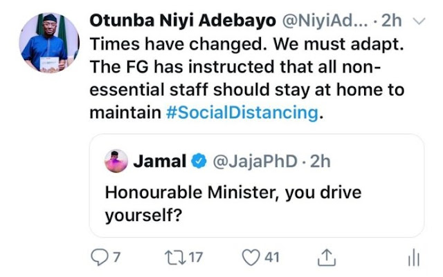 COVID-19: Minister drives self to meeting in response to Buhari's directive