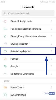 Xiaomi MIUI 10 Ustawienia Bateria i wydajność
