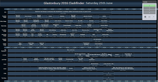 glastonbury 2016 25th june lineup schedule