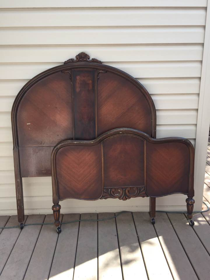 Antique twin bed from thrift store