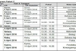 Jadwal UN SMA SMP SD 2016
