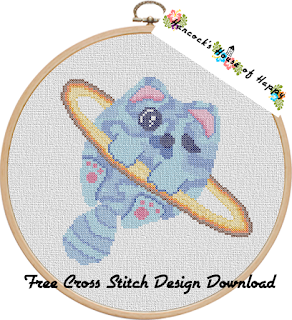 planet caturn kawaii space cross stitch design free to download