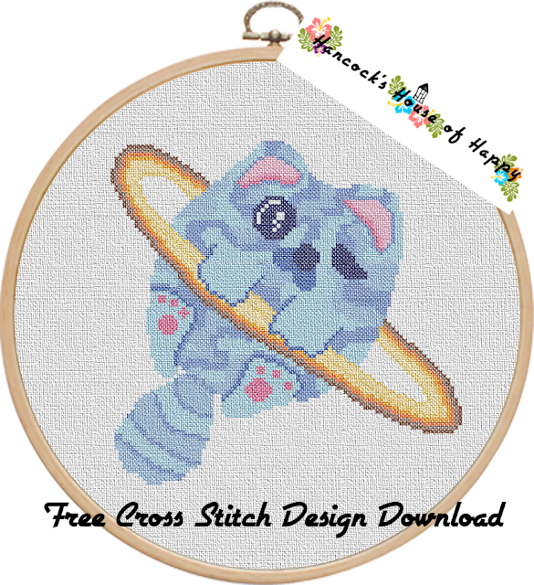 Space Week! The Mysterious Planet Caturn Planetary Space Cross Stitch Pattern Free to Download
