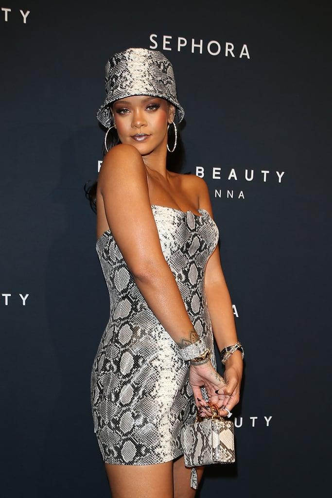 Rihanna wearing snake print