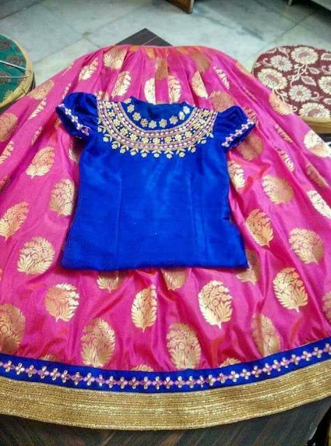 Pink Benaras Lehenga Blue Blouse