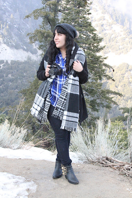 Winter Cabin Flannel Blanket Scarf Outfit Inspiration